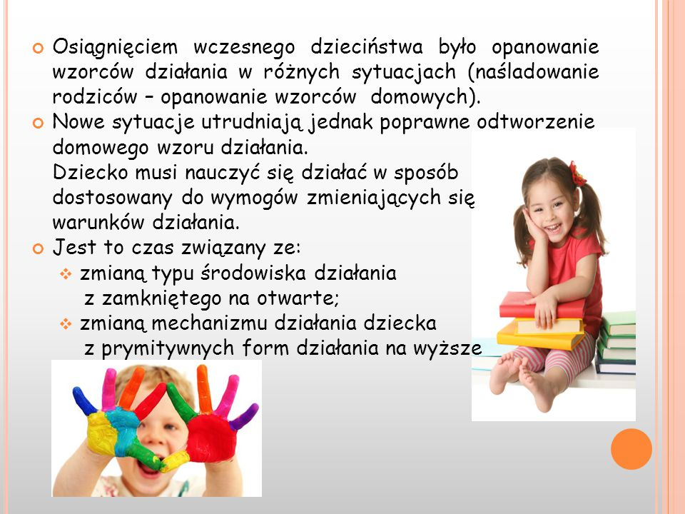 Osiągnięciem wczesnego dzieciństwa było opanowanie wzorców działania w różnych sytuacjach (naśladowanie rodziców – opanowanie wzorców domowych). Nowe