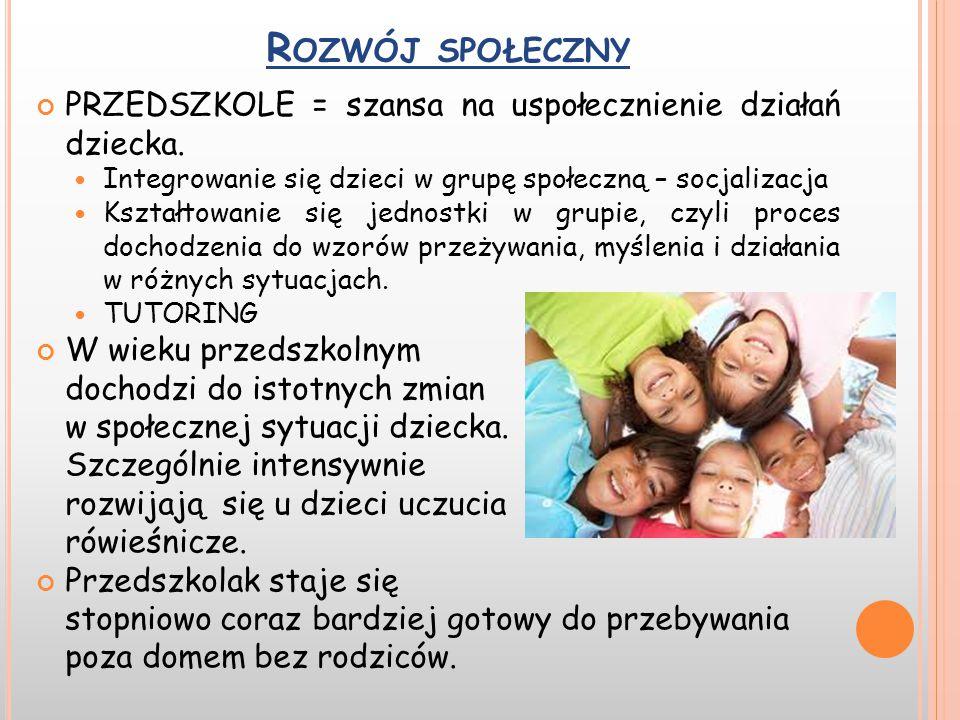 R OZWÓJ SPOŁECZNY PRZEDSZKOLE = szansa na uspołecznienie działań dziecka. Integrowanie się dzieci w grupę społeczną – socjalizacja Kształtowanie się j