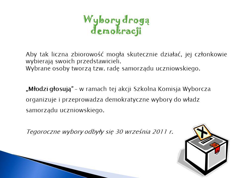 Wybory drog ą demokracji Aby tak liczna zbiorowość mogła skutecznie działać, jej członkowie wybierają swoich przedstawicieli. Wybrane osoby tworzą tzw
