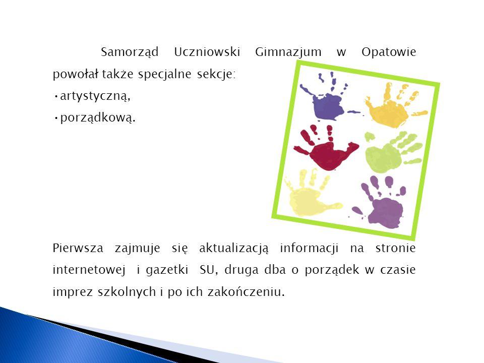 Samorząd Uczniowski Gimnazjum w Opatowie powołał także specjalne sekcje: artystyczną, porządkową. Pierwsza zajmuje się aktualizacją informacji na stro