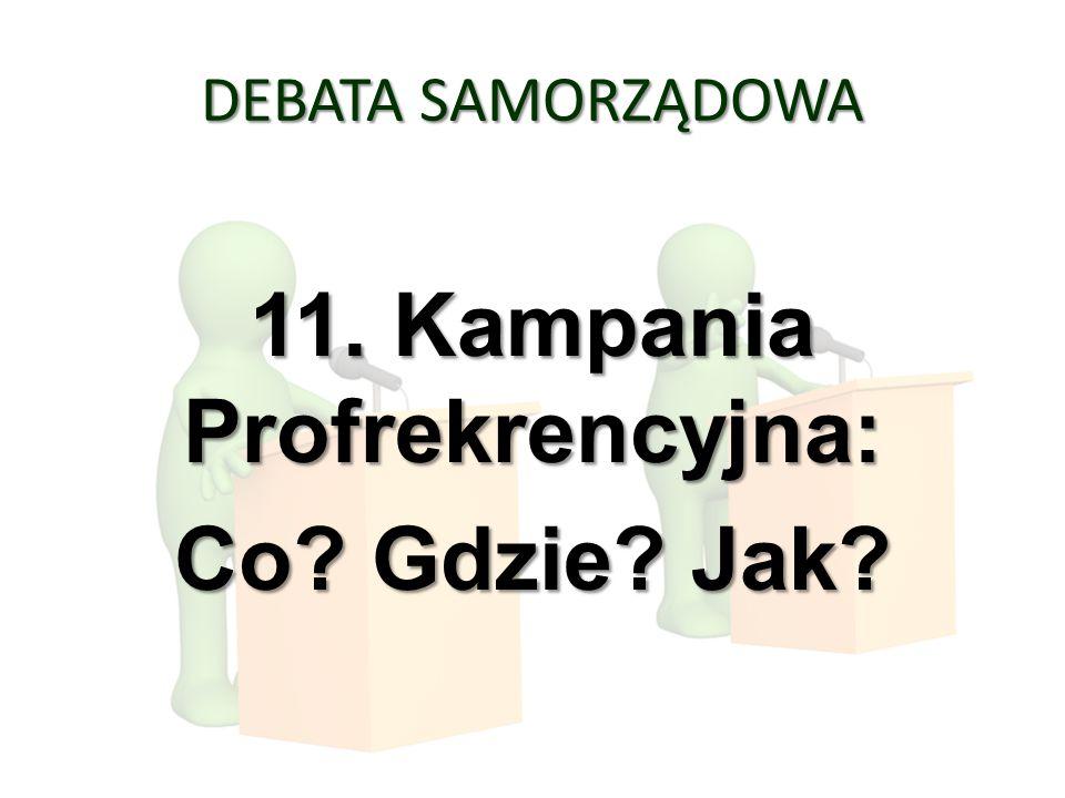 DEBATA SAMORZĄDOWA 11. Kampania Profrekrencyjna: Co? Gdzie? Jak?