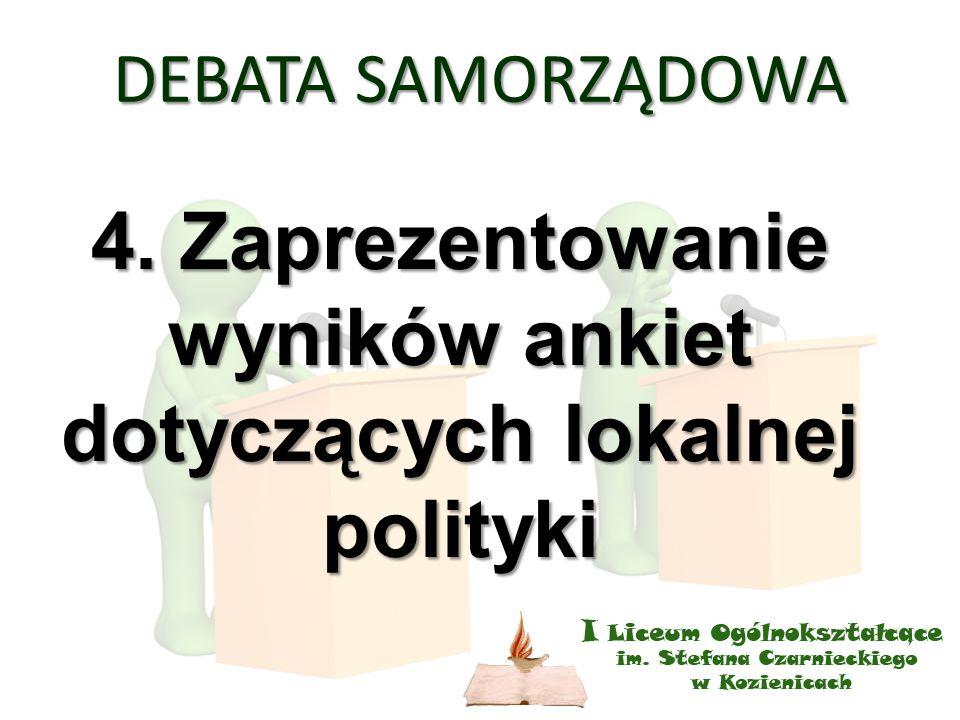 DEBATA SAMORZĄDOWA 4. Zaprezentowanie wyników ankiet dotyczących lokalnej polityki