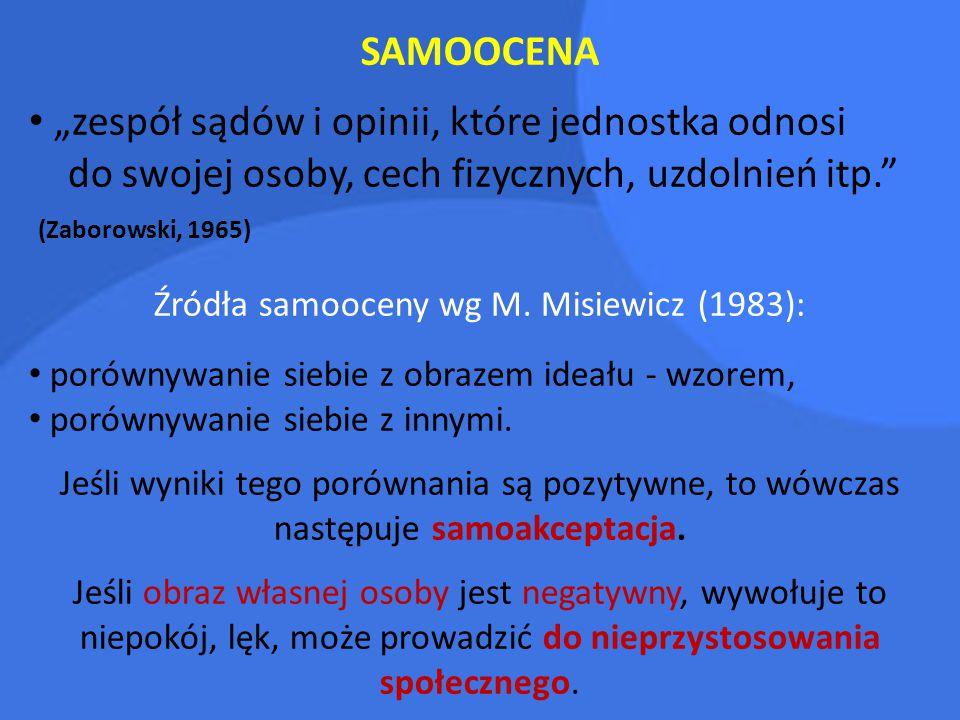 """SAMOOCENA """"zespół sądów i opinii, które jednostka odnosi do swojej osoby, cech fizycznych, uzdolnień itp."""" (Zaborowski, 1965) Źródła samooceny wg M. M"""