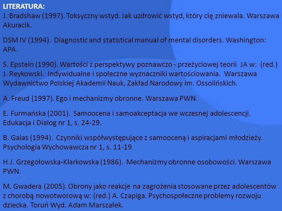 LITERATURA: J. Bradshaw (1997). Toksyczny wstyd. Jak uzdrowić wstyd, który cię zniewala. Warszawa Akuracik. DSM IV (1994). Diagnostic and statistical