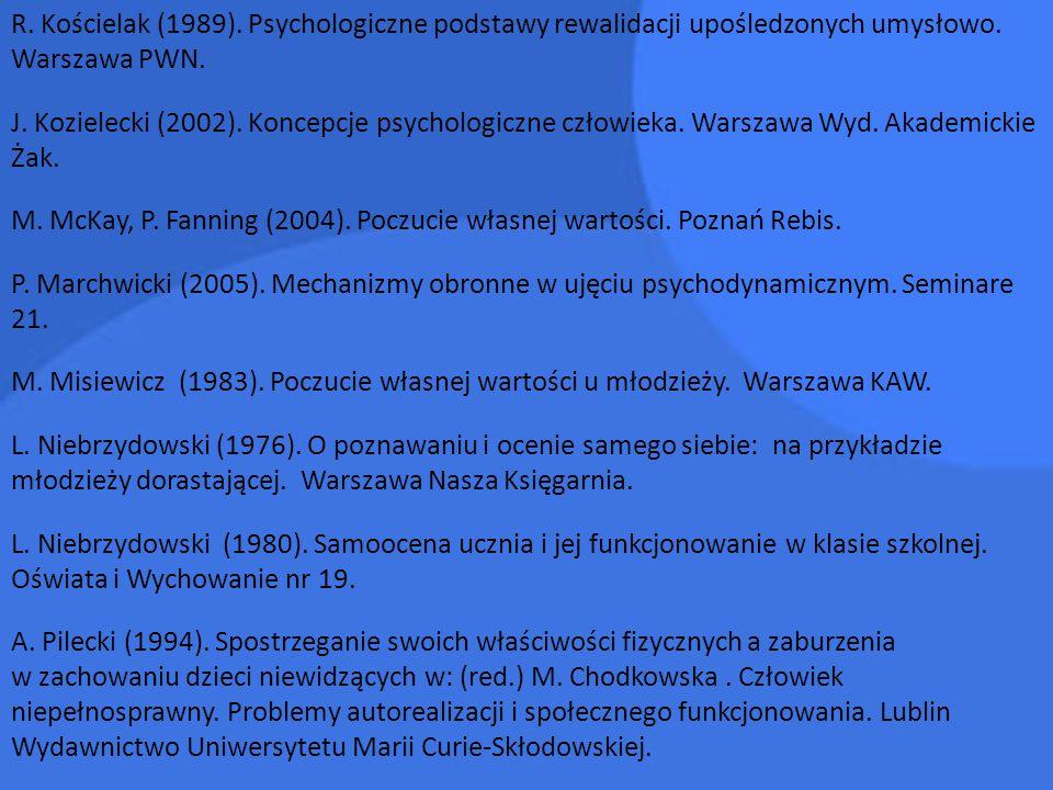 R. Kościelak (1989). Psychologiczne podstawy rewalidacji upośledzonych umysłowo. Warszawa PWN. J. Kozielecki (2002). Koncepcje psychologiczne człowiek