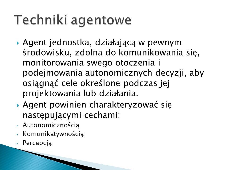  Agent jednostka, działającą w pewnym środowisku, zdolna do komunikowania się, monitorowania swego otoczenia i podejmowania autonomicznych decyzji, a