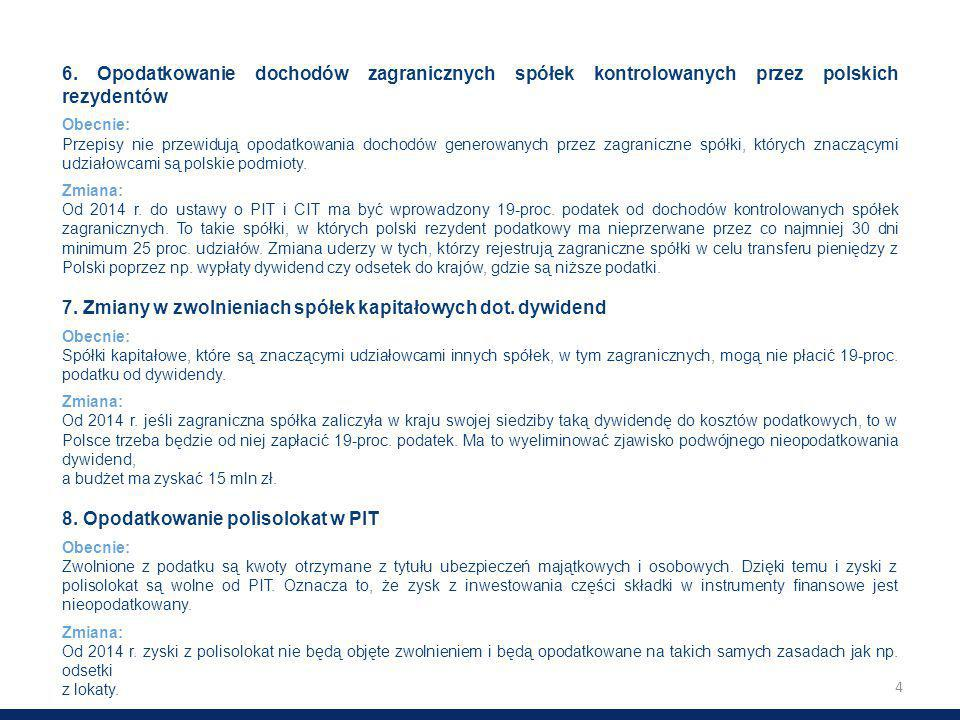 4 6. Opodatkowanie dochodów zagranicznych spółek kontrolowanych przez polskich rezydentów Obecnie: Przepisy nie przewidują opodatkowania dochodów gene