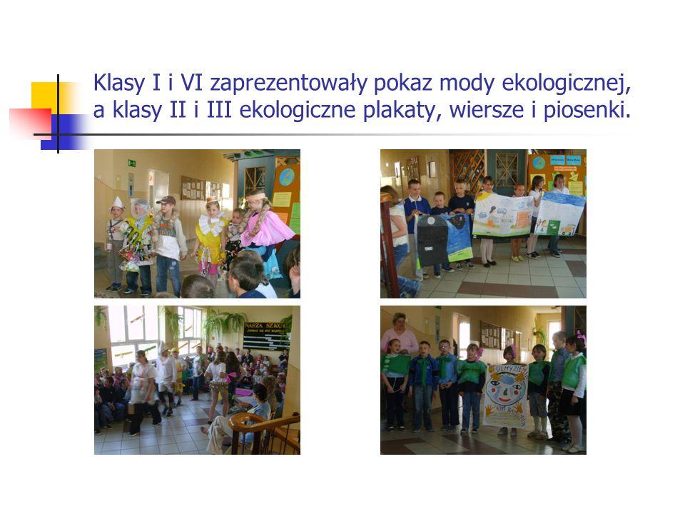 Klasa IV zaśpiewała piosenkę o zbieraniu makulatury, klasa V omówiła sposoby segregowania śmieci i pozbywania się odpadów szkodliwych i uciążliwych dla środowiska.