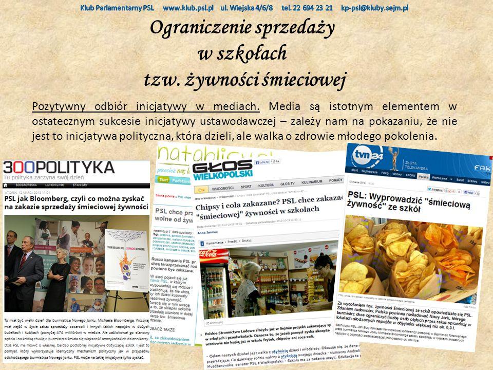Ograniczenie sprzedaży w szkołach tzw. żywności śmieciowej Pozytywny odbiór inicjatywy w mediach.