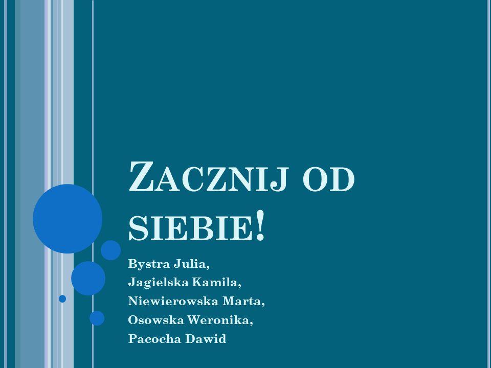Z ACZNIJ OD SIEBIE ! Bystra Julia, Jagielska Kamila, Niewierowska Marta, Osowska Weronika, Pacocha Dawid