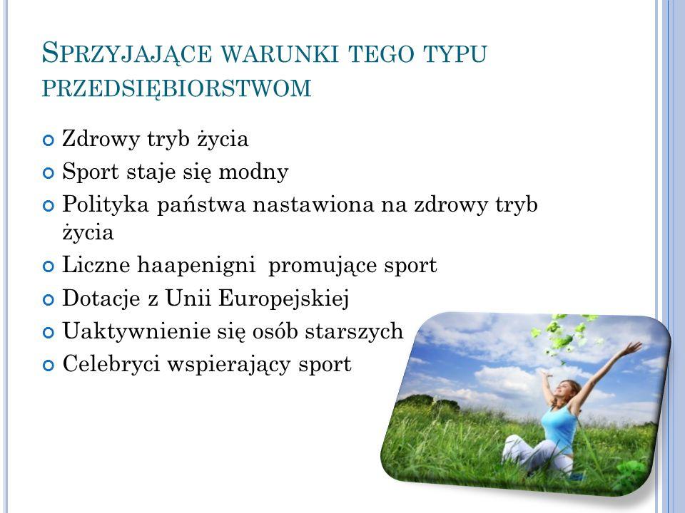 S PRZYJAJĄCE WARUNKI TEGO TYPU PRZEDSIĘBIORSTWOM Zdrowy tryb życia Sport staje się modny Polityka państwa nastawiona na zdrowy tryb życia Liczne haape