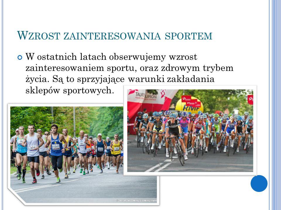 W ZROST ZAINTERESOWANIA SPORTEM W ostatnich latach obserwujemy wzrost zainteresowaniem sportu, oraz zdrowym trybem życia. Są to sprzyjające warunki za