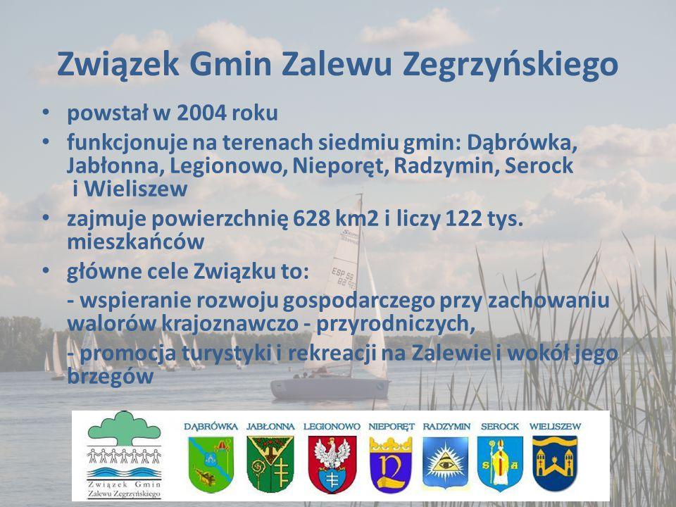 Związek Gmin Zalewu Zegrzyńskiego powstał w 2004 roku funkcjonuje na terenach siedmiu gmin: Dąbrówka, Jabłonna, Legionowo, Nieporęt, Radzymin, Serock