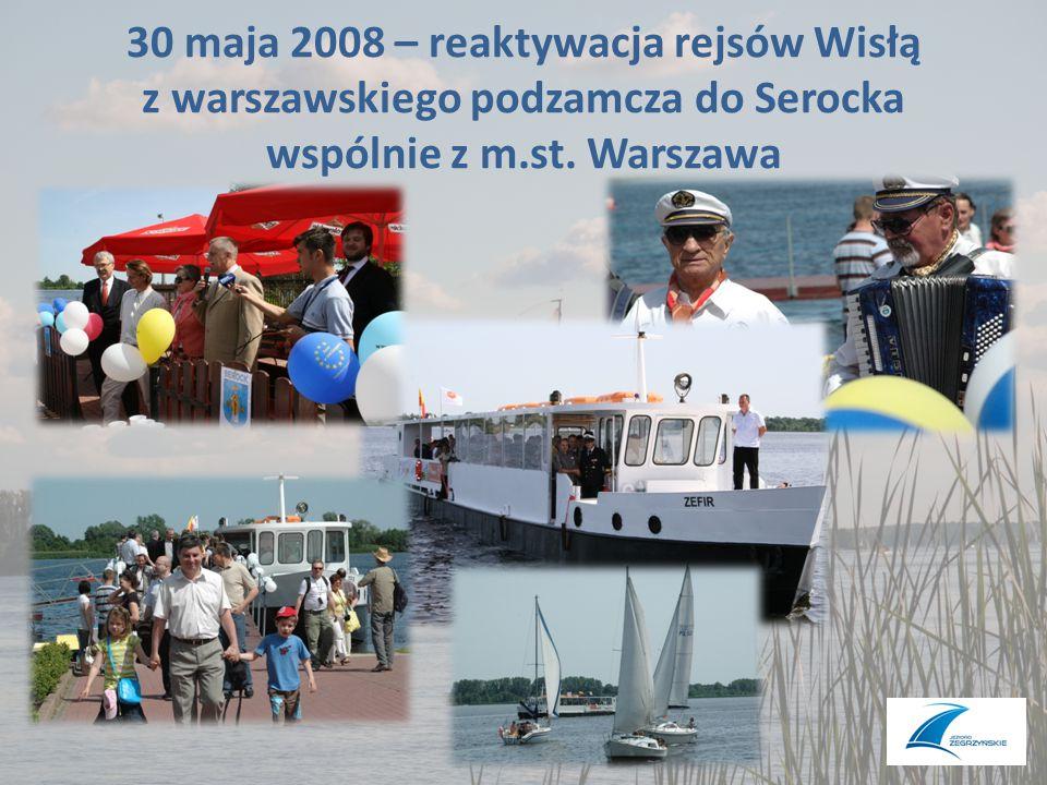 30 maja 2008 – reaktywacja rejsów Wisłą z warszawskiego podzamcza do Serocka wspólnie z m.st. Warszawa