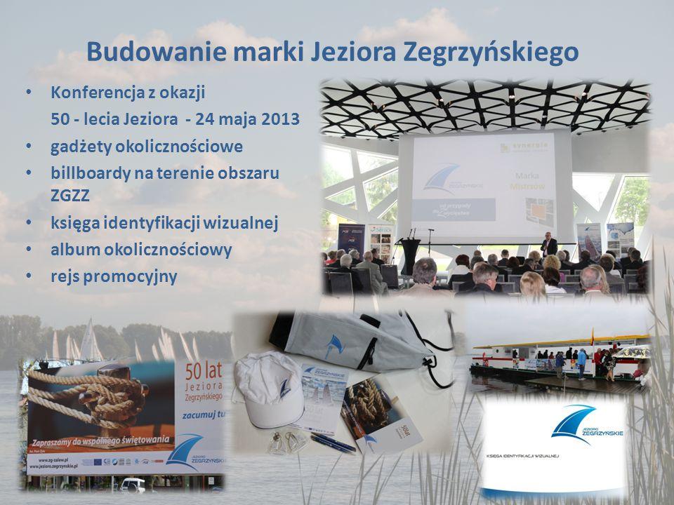 Budowanie marki Jeziora Zegrzyńskiego Konferencja z okazji 50 - lecia Jeziora - 24 maja 2013 gadżety okolicznościowe billboardy na terenie obszaru ZGZZ księga identyfikacji wizualnej album okolicznościowy rejs promocyjny