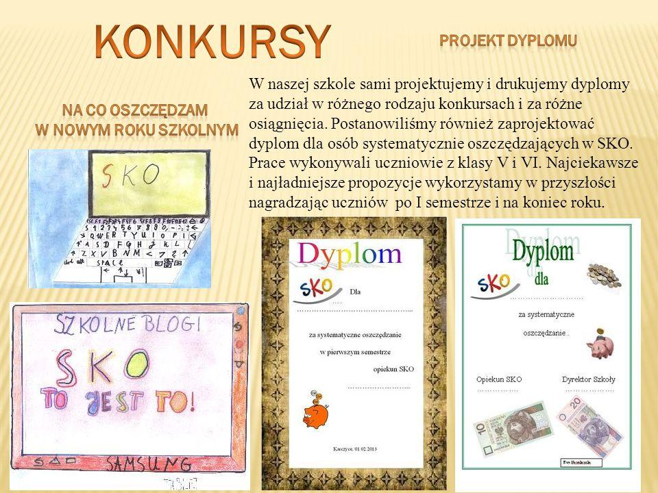 W naszej szkole sami projektujemy i drukujemy dyplomy za udział w różnego rodzaju konkursach i za różne osiągnięcia. Postanowiliśmy również zaprojekto