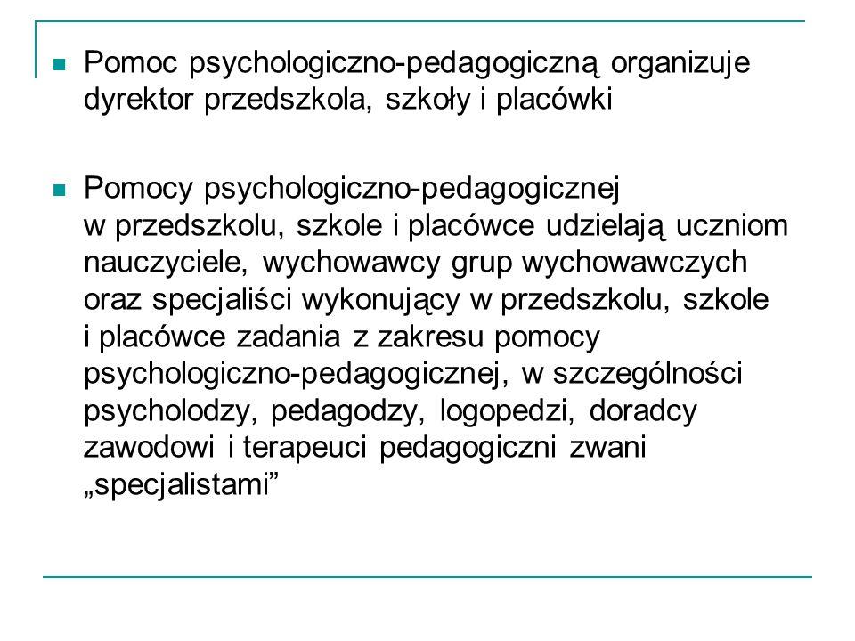 Pomoc psychologiczno-pedagogiczną organizuje dyrektor przedszkola, szkoły i placówki Pomocy psychologiczno-pedagogicznej w przedszkolu, szkole i placó