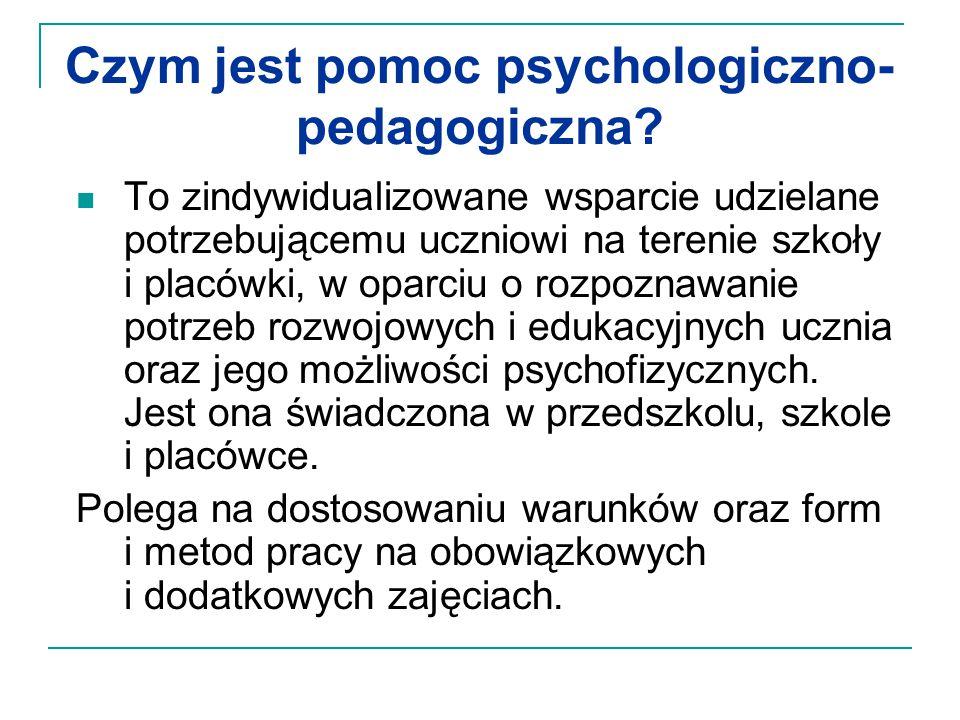 Czym jest pomoc psychologiczno- pedagogiczna? To zindywidualizowane wsparcie udzielane potrzebującemu uczniowi na terenie szkoły i placówki, w oparciu