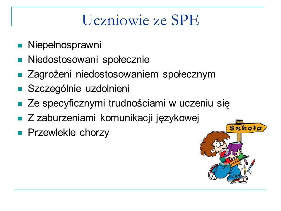 Uczniowie ze SPE Niepełnosprawni Niedostosowani społecznie Zagrożeni niedostosowaniem społecznym Szczególnie uzdolnieni Ze specyficznymi trudnościami