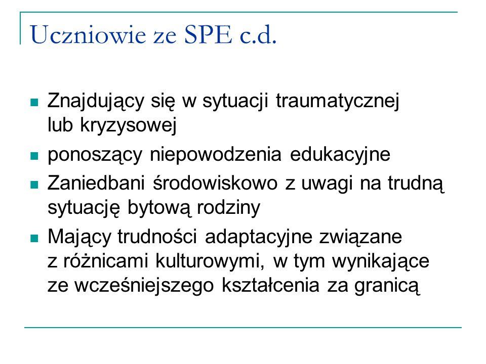 Uczniowie ze SPE c.d. Znajdujący się w sytuacji traumatycznej lub kryzysowej ponoszący niepowodzenia edukacyjne Zaniedbani środowiskowo z uwagi na tru