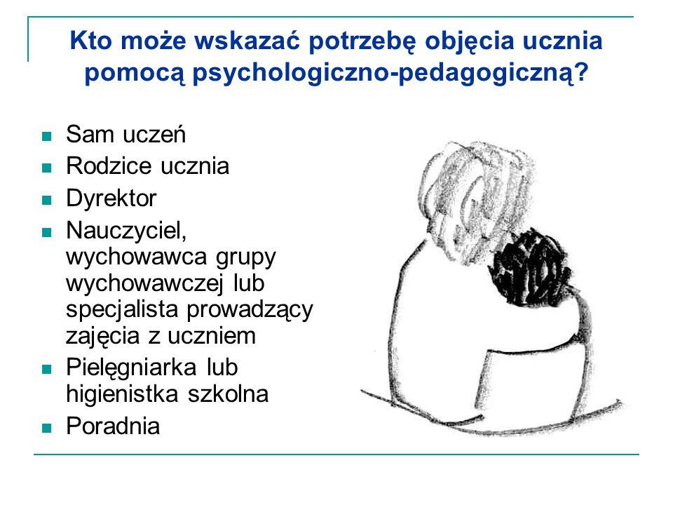 Kto może wskazać potrzebę objęcia ucznia pomocą psychologiczno-pedagogiczną? Sam uczeń Rodzice ucznia Dyrektor Nauczyciel, wychowawca grupy wychowawcz
