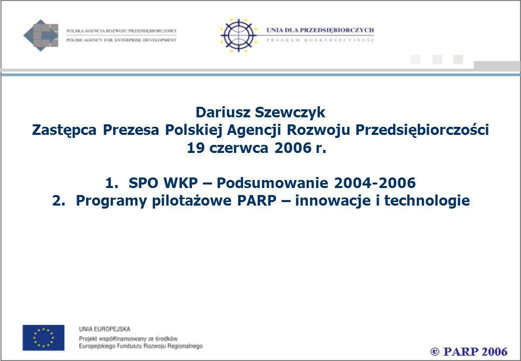 Dariusz Szewczyk Zastępca Prezesa Polskiej Agencji Rozwoju Przedsiębiorczości 19 czerwca 2006 r.