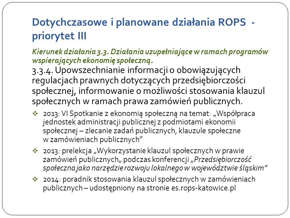 Dotychczasowe i planowane działania ROPS - priorytet III Kierunek działania 3.3.
