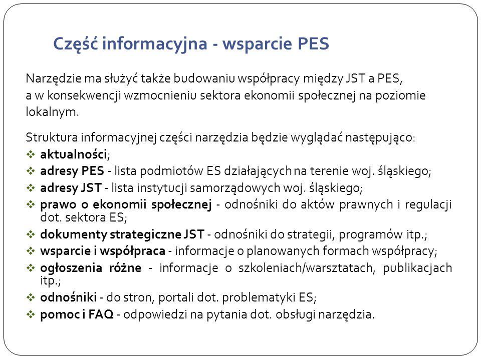 Część informacyjna - wsparcie PES Narzędzie ma służyć także budowaniu współpracy między JST a PES, a w konsekwencji wzmocnieniu sektora ekonomii społecznej na poziomie lokalnym.