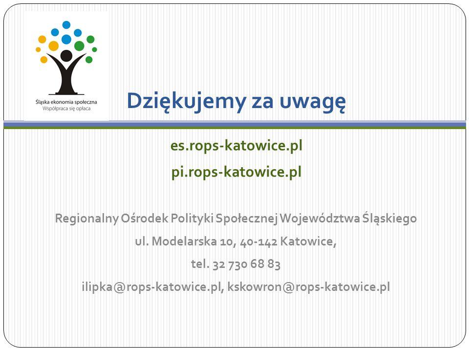 Dziękujemy za uwagę es.rops-katowice.pl pi.rops-katowice.pl Regionalny Ośrodek Polityki Społecznej Województwa Śląskiego ul.