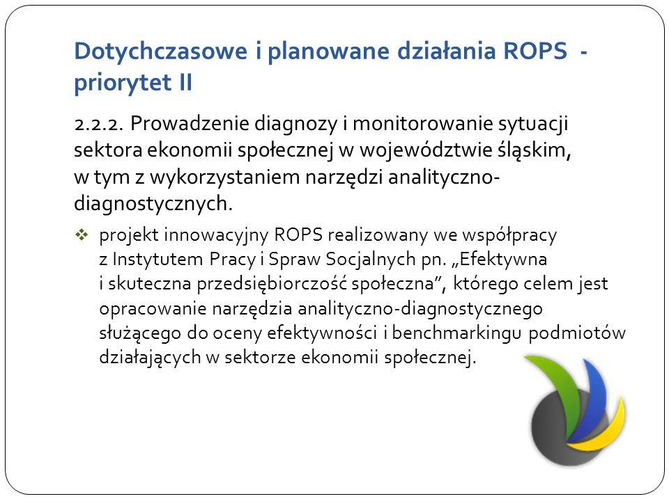 Dotychczasowe i planowane działania ROPS - priorytet IV Kierunek działania 4.4.