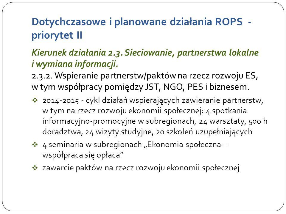 Dotychczasowe i planowane działania ROPS - priorytet II Kierunek działania 2.3.