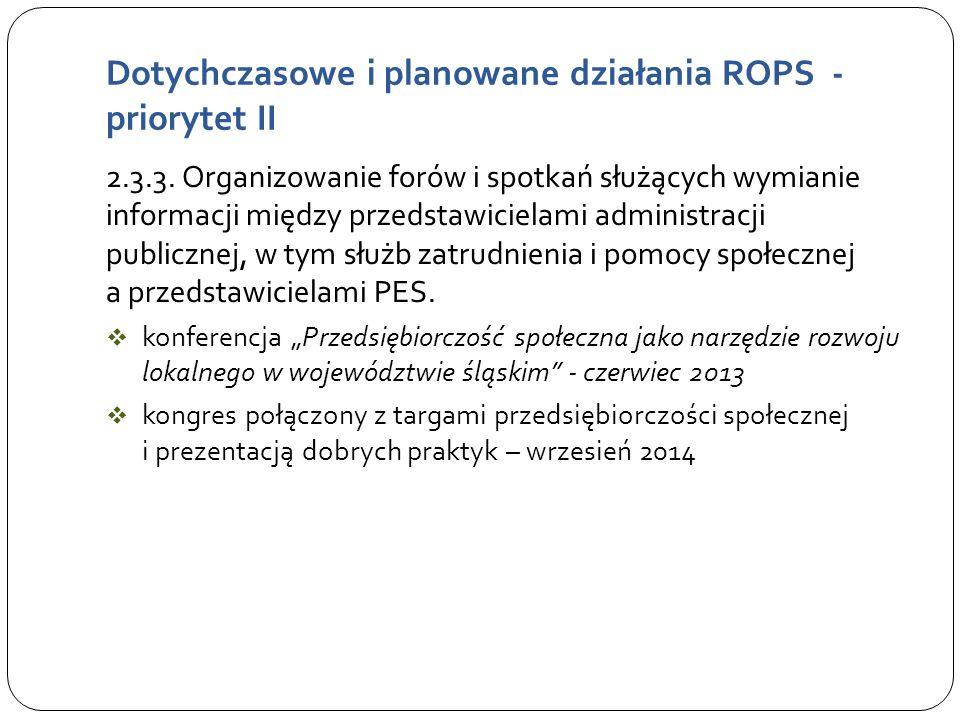 Dotychczasowe i planowane działania ROPS - priorytet II 2.3.3.