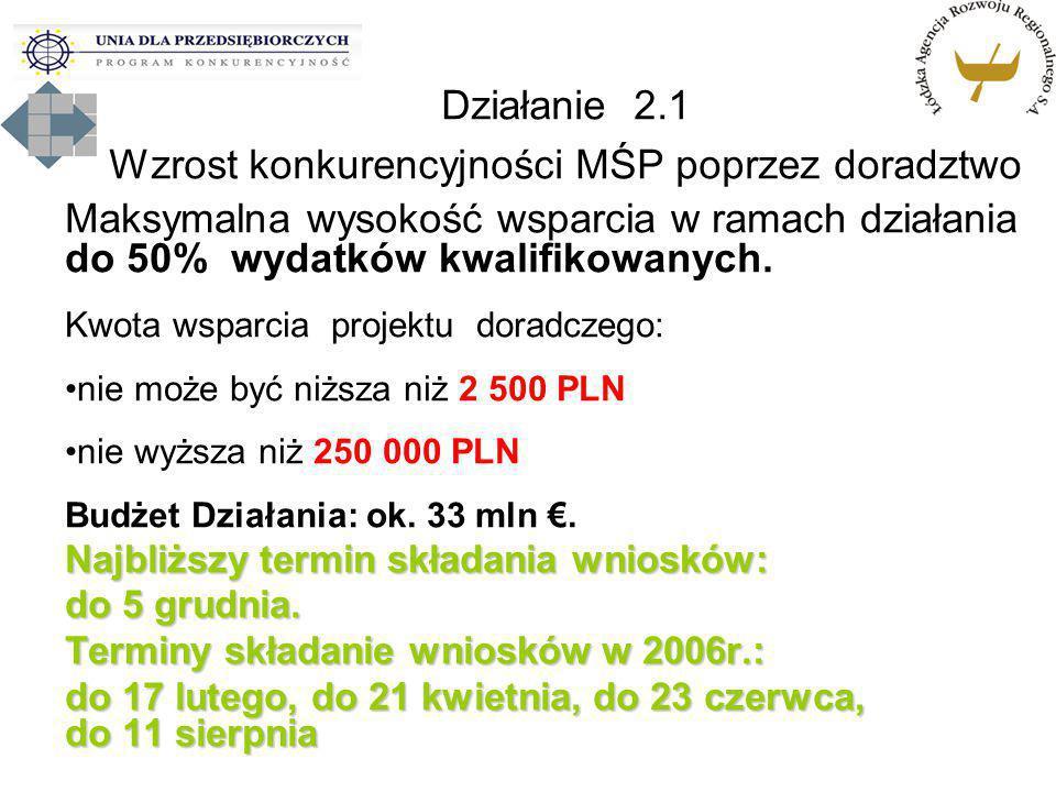 Maksymalna wysokość wsparcia w ramach działania do 50% wydatków kwalifikowanych. Kwota wsparcia projektu doradczego: nie może być niższa niż 2 500 PLN