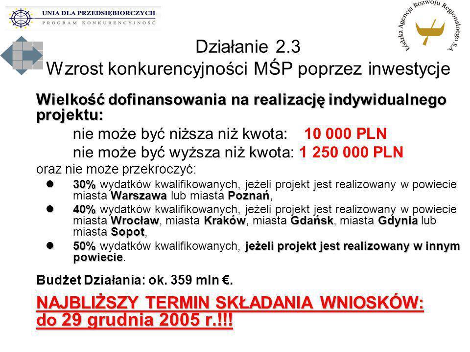 Wielkość dofinansowania na realizację indywidualnego projektu: nie może być niższa niż kwota: 10 000 PLN nie może być wyższa niż kwota: 1 250 000 PLN