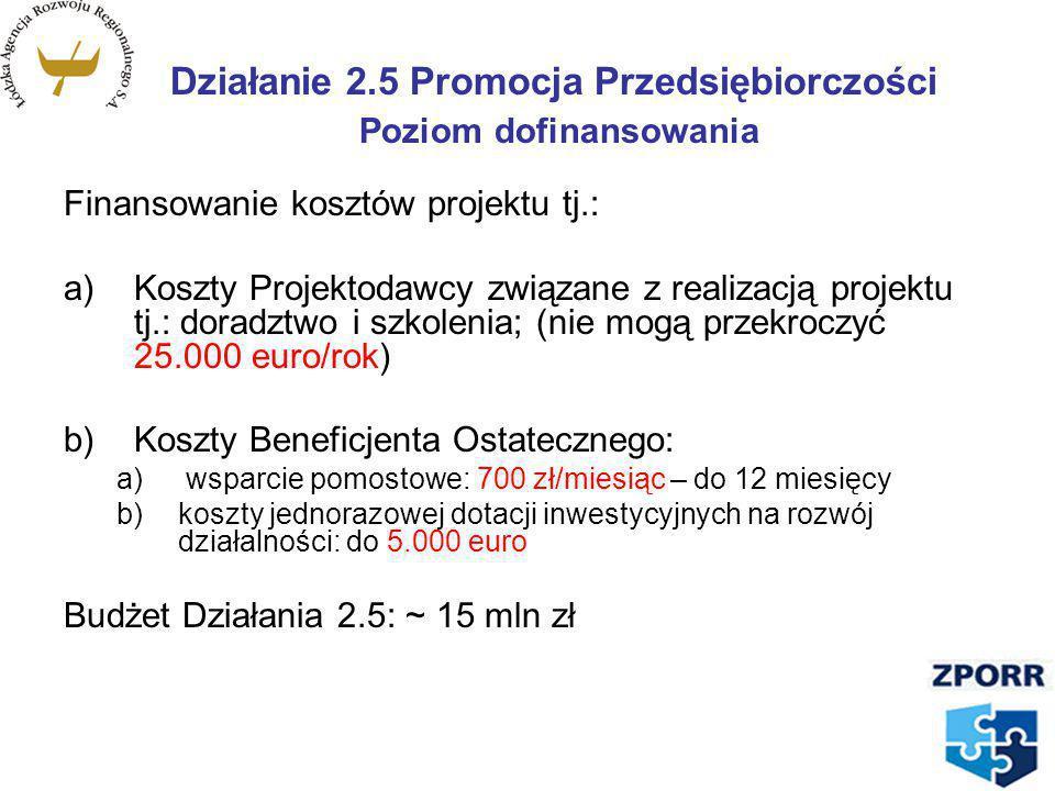 Działanie 2.5 Promocja Przedsiębiorczości Poziom dofinansowania Finansowanie kosztów projektu tj.: a)Koszty Projektodawcy związane z realizacją projek
