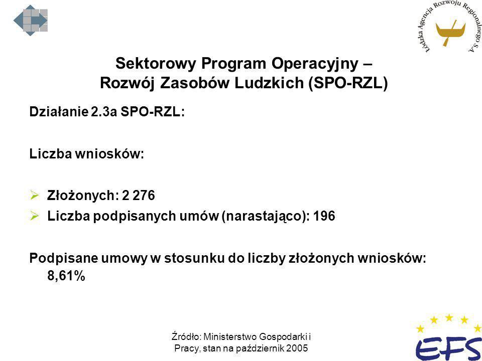 Źródło: Ministerstwo Gospodarki i Pracy, stan na październik 2005 Sektorowy Program Operacyjny – Rozwój Zasobów Ludzkich (SPO-RZL) Działanie 2.3a SPO-