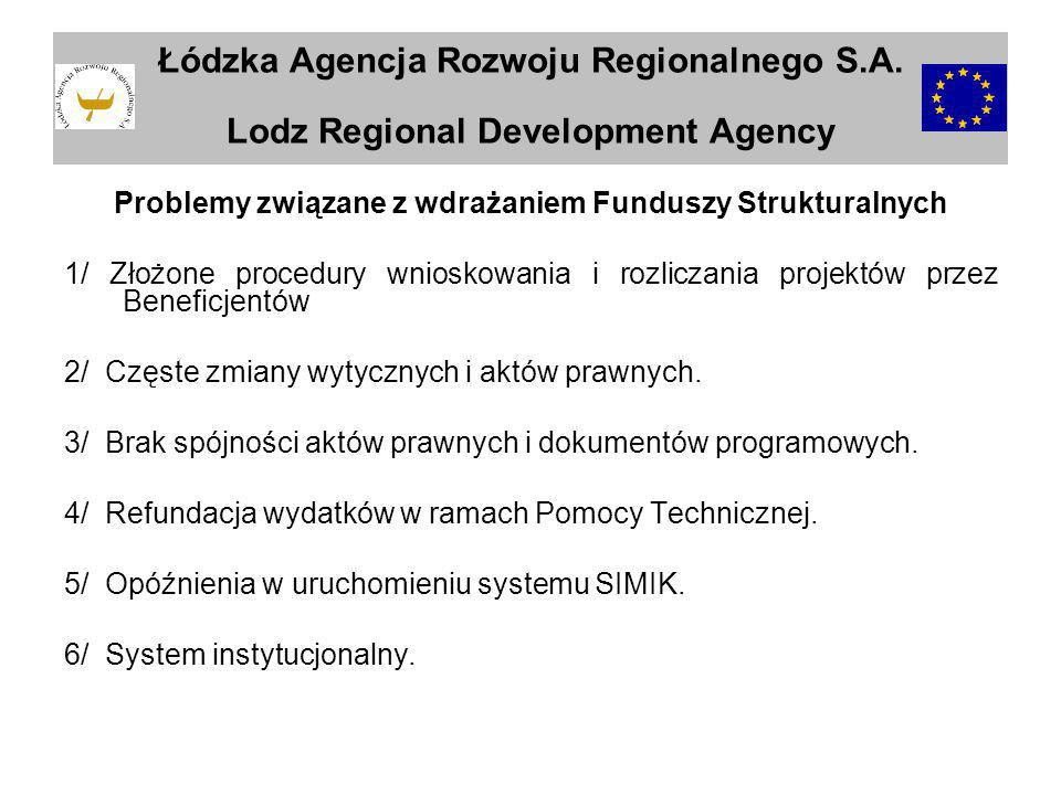 Problemy związane z wdrażaniem Funduszy Strukturalnych 1/ Złożone procedury wnioskowania i rozliczania projektów przez Beneficjentów 2/ Częste zmiany