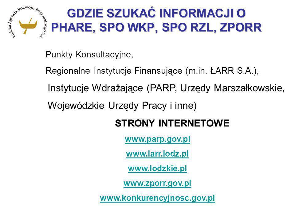 GDZIE SZUKAĆ INFORMACJI O PHARE, SPO WKP, SPO RZL, ZPORR Punkty Konsultacyjne, Regionalne Instytucje Finansujące (m.in. ŁARR S.A.), Instytucje Wdrażaj