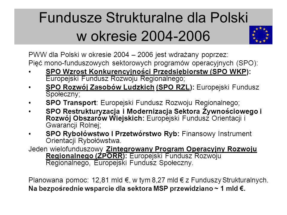 PWW dla Polski w okresie 2004 – 2006 jest wdrażany poprzez: Pięć mono-funduszowych sektorowych programów operacyjnych (SPO): SPO Wzrost Konkurencyjnoś
