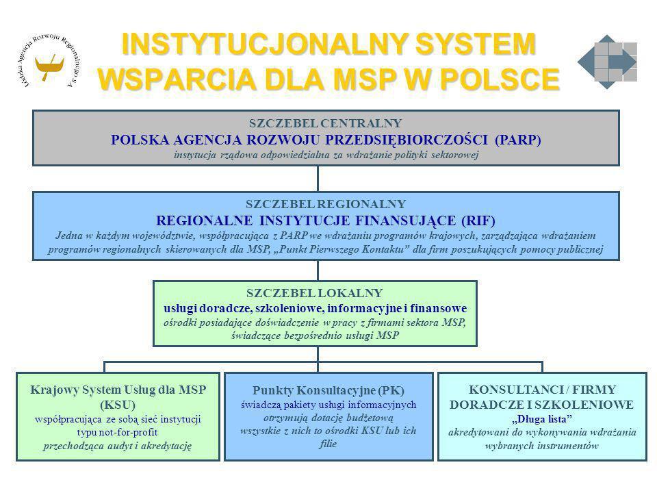 INSTYTUCJONALNY SYSTEM WSPARCIA DLA MSP W POLSCE SZCZEBEL CENTRALNY POLSKA AGENCJA ROZWOJU PRZEDSIĘBIORCZOŚCI (PARP) instytucja rządowa odpowiedzialna