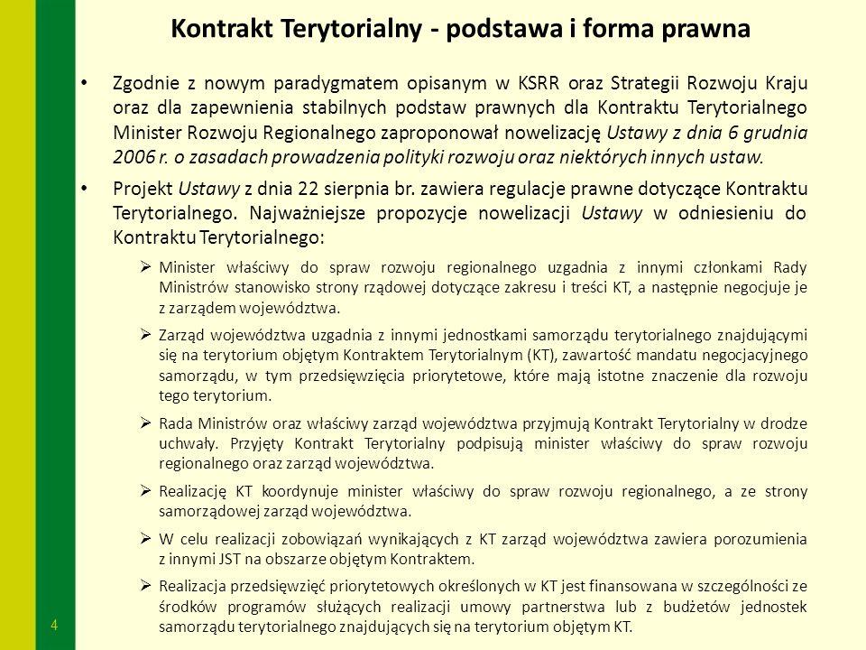 4 Kontrakt Terytorialny - podstawa i forma prawna Zgodnie z nowym paradygmatem opisanym w KSRR oraz Strategii Rozwoju Kraju oraz dla zapewnienia stabi