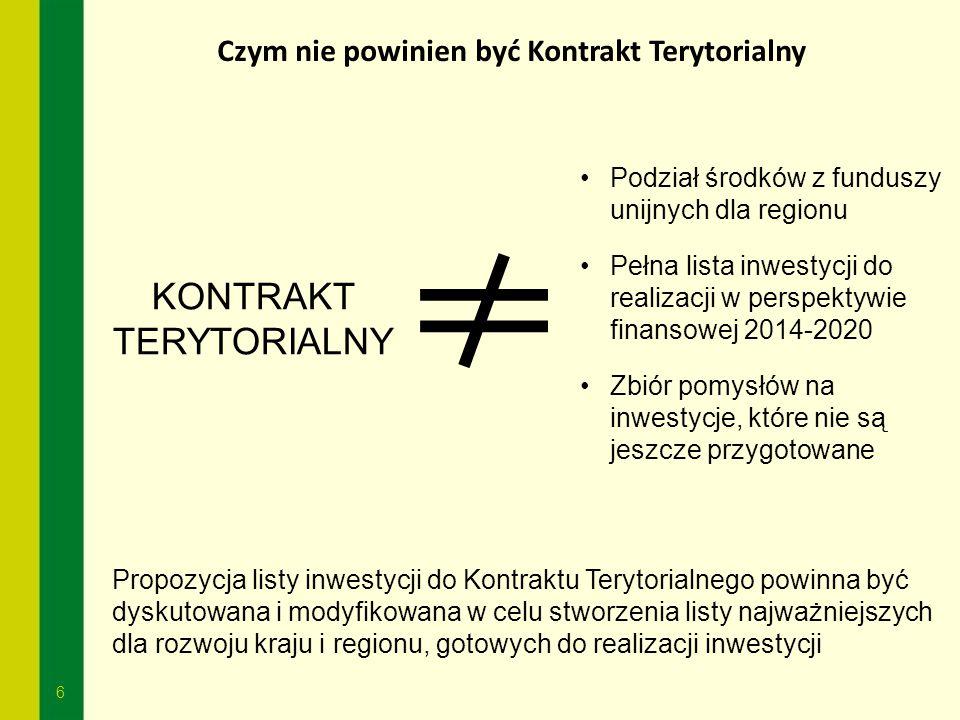 6 Czym nie powinien być Kontrakt Terytorialny KONTRAKT TERYTORIALNY Podział środków z funduszy unijnych dla regionu Pełna lista inwestycji do realizac
