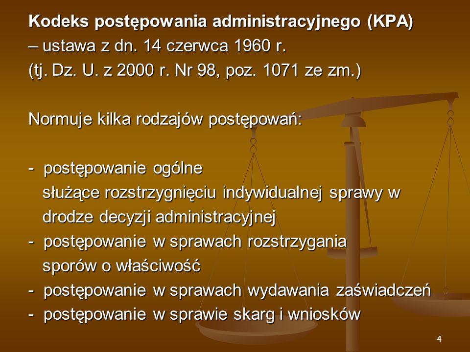 45 Wnoszenie podań Art.63 KPA § 1.