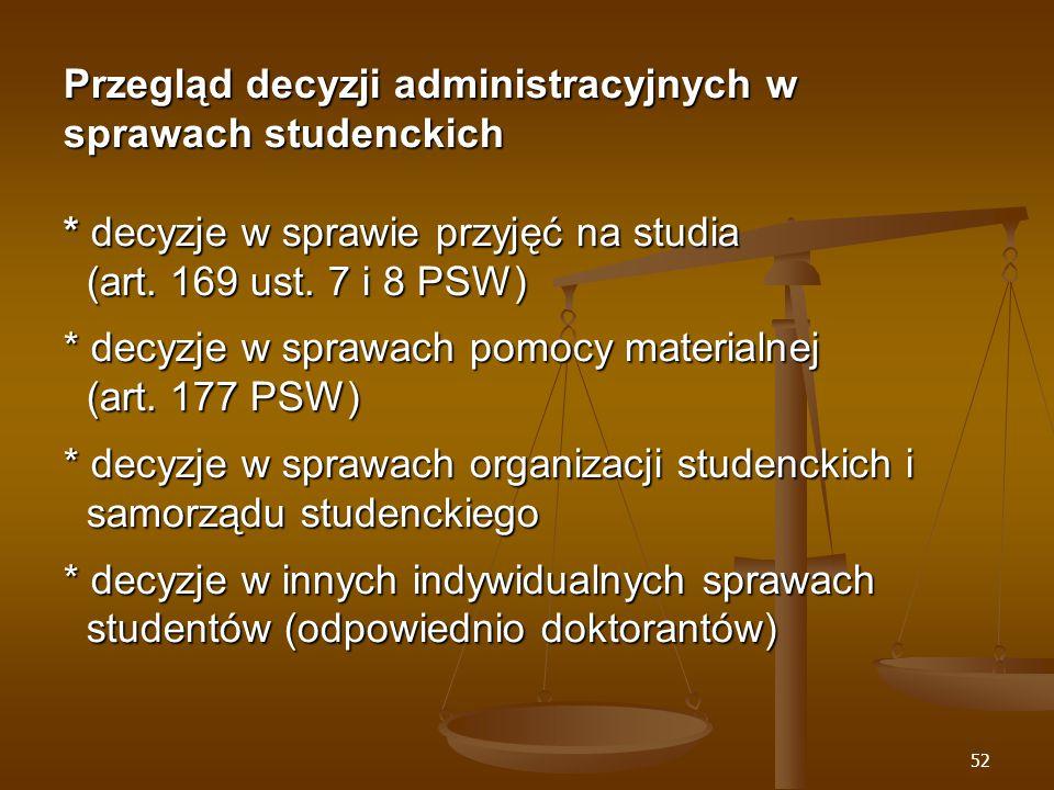 52 Przegląd decyzji administracyjnych w sprawach studenckich * decyzje w sprawie przyjęć na studia (art.