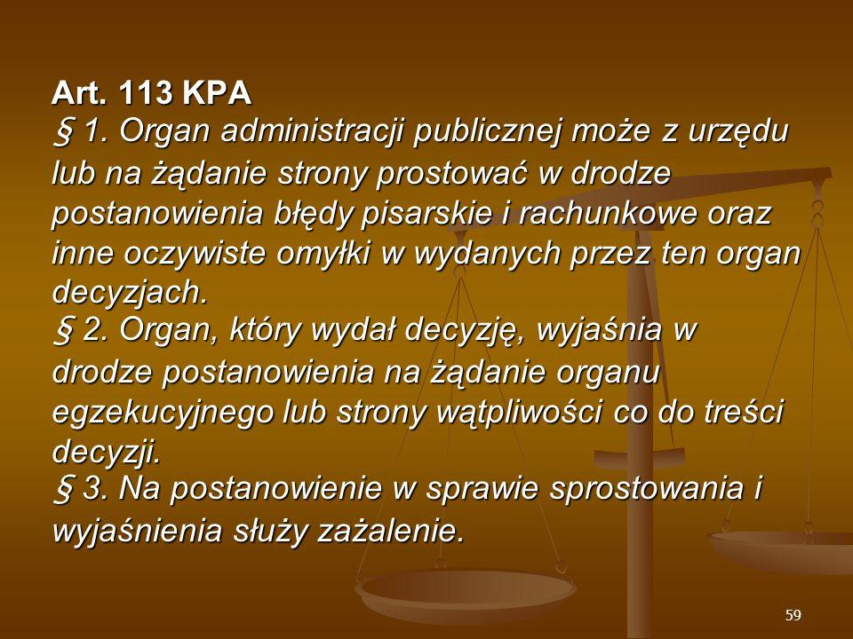 59 Art. 113 KPA § 1.