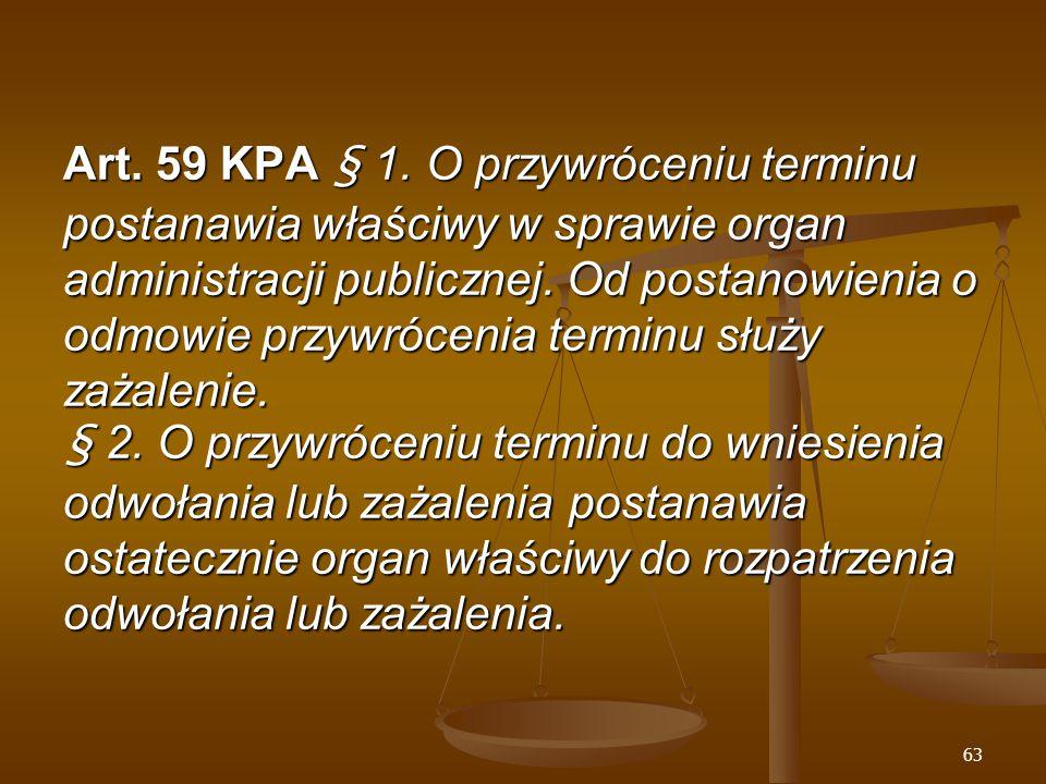 63 Art. 59 KPA § 1.