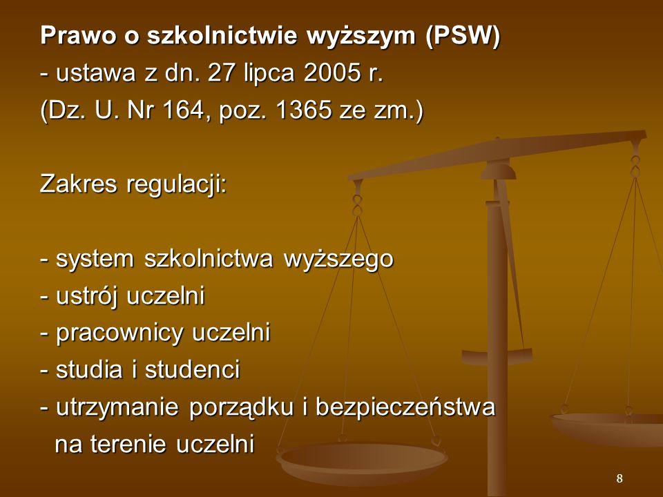 8 Prawo o szkolnictwie wyższym (PSW) - ustawa z dn.