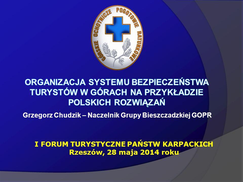 Grzegorz Chudzik – Naczelnik Grupy Bieszczadzkiej GOPR I FORUM TURYSTYCZNE PAŃSTW KARPACKICH Rzeszów, 28 maja 2014 roku
