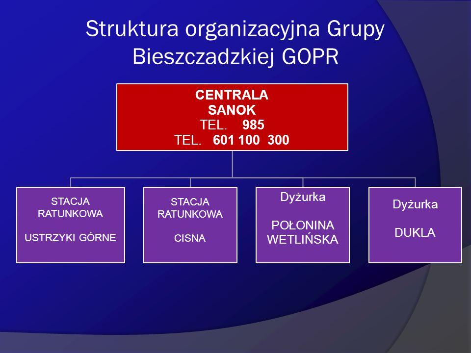 Struktura organizacyjna Grupy Bieszczadzkiej GOPR CENTRALA SANOK TEL. 985 TEL. 601 100 300 STACJA RATUNKOWA USTRZYKI GÓRNE STACJA RATUNKOWA CISNA Dyżu