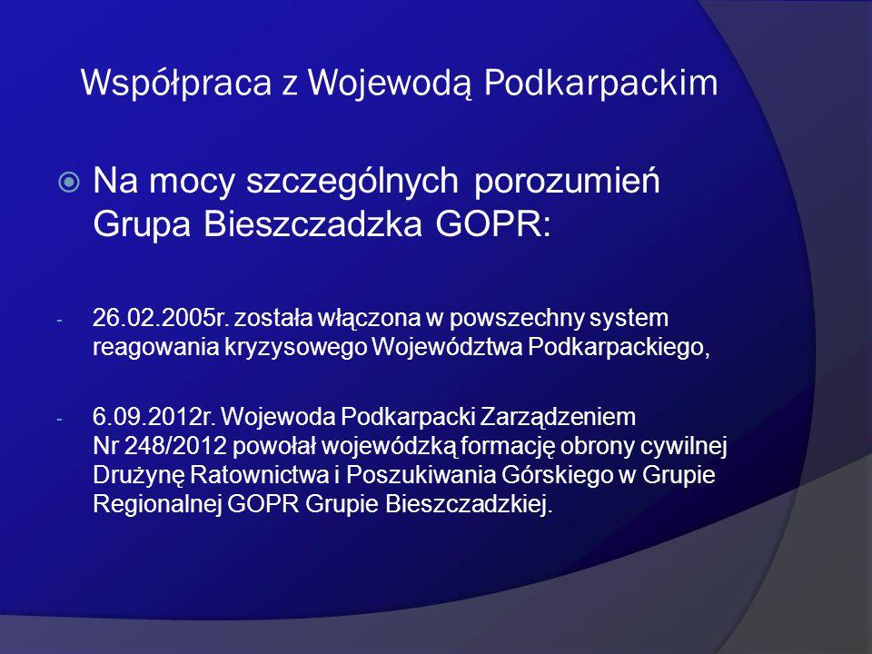 Współpraca z Wojewodą Podkarpackim  Na mocy szczególnych porozumień Grupa Bieszczadzka GOPR: - 26.02.2005r. została włączona w powszechny system reag